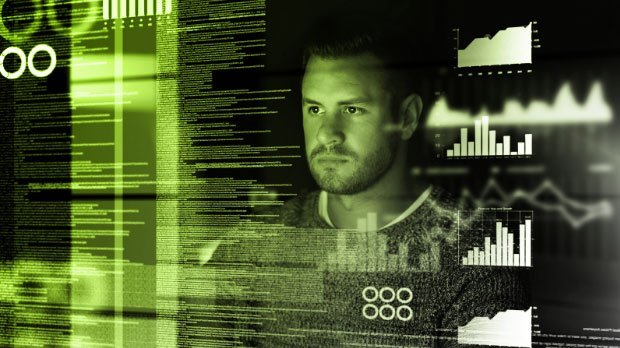 Preview: Face of a man looking intently at several layers of translucent text and diagrams
