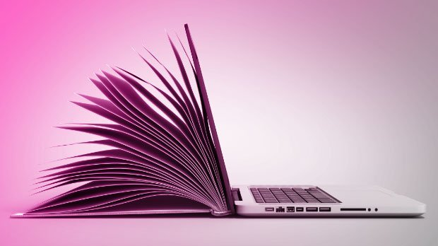 Preview: Hybrid image of open book and laptop