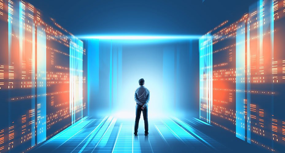 Man standing in digitally created server room