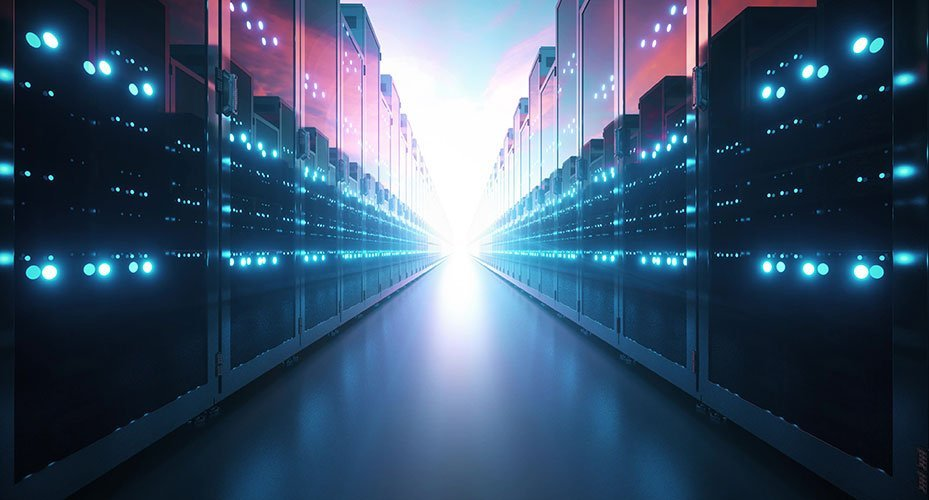 Two endless rows of servers with bright light in the distance